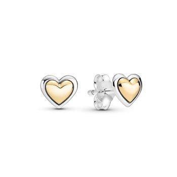 Domed Golden Heart Stud Earrings