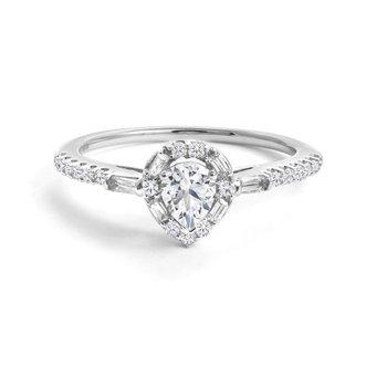 14K Pear Engagement Ring, 0.57 TDW