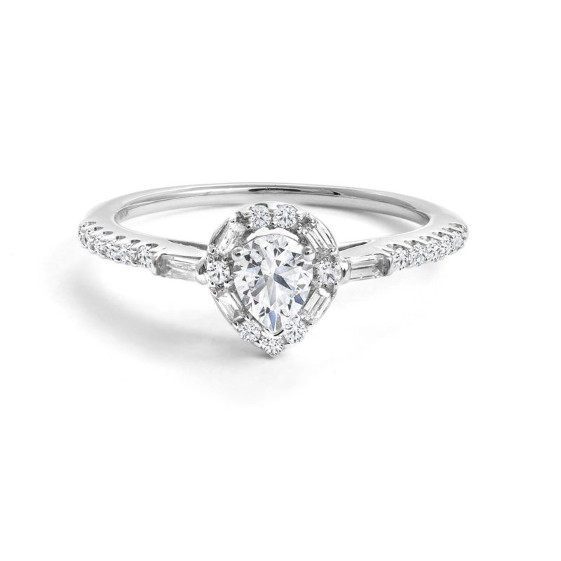 Canadian Rocks 14K Pear Engagement Ring, 0.57 TDW