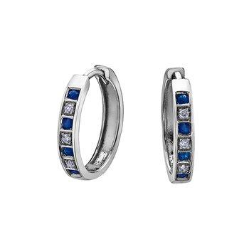 10K Sapphire & Diamond Huggies