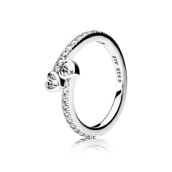 Two Sparkling Hearts Ring, size 4.5