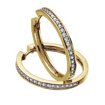 10K Diamond Hoop Earrings, 0.05ct