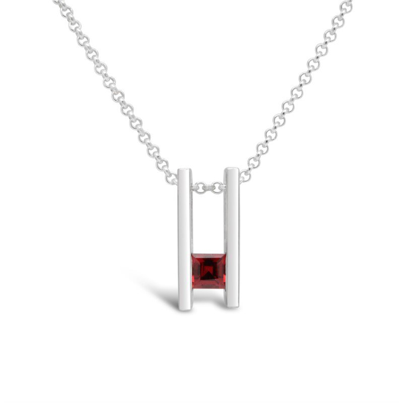 GNM Sterling Collection Double Bar January Pendant