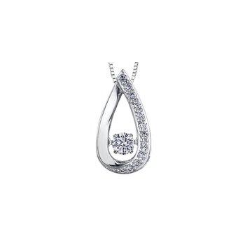 10k Maple Leaf Pulse Diamond Pendant