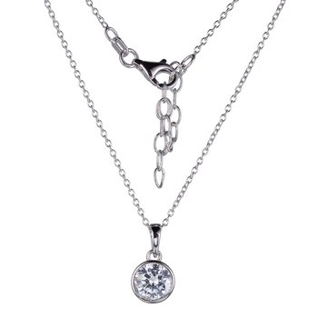 Sterling Silver Solitaire Style CZ Pendant & Chain