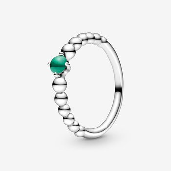 May Rainforest Green Beaded Ring, size 7.0