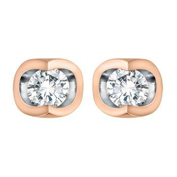 10K Solitaire Diamond Earrings 0.06 TDW
