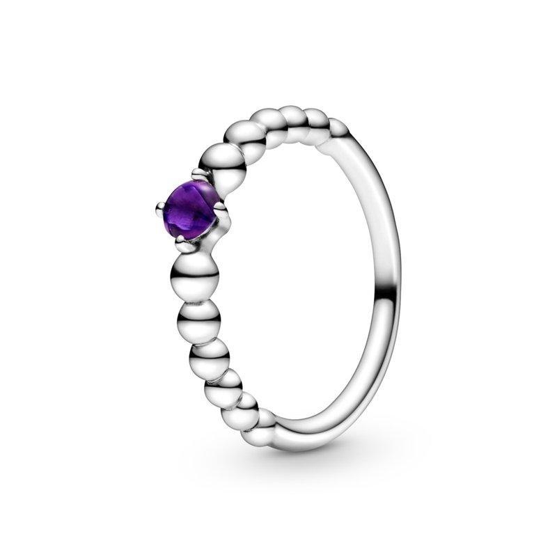 Pandora February Purple Beaded Ring, size 7.0
