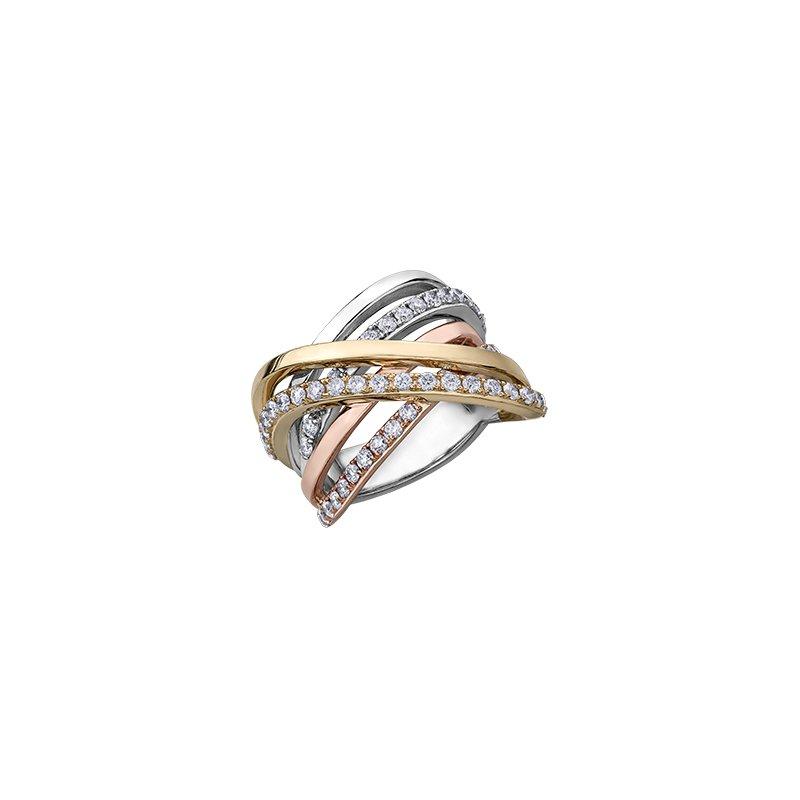 Diamond Envy 10 karat tri tone criss cross diamond ring 1.00tdw