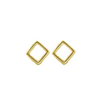 Sterling silver gold plated diamond shaped stud earrings