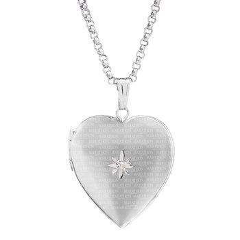 """Diamond Heart Shaped Locket- 18"""""""