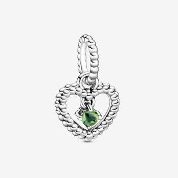 August Spring Green Beaded Heart Dangle Charm