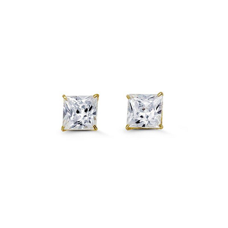 Bella 14k Yellow Gold 6mm Square CZ Stud Earrings