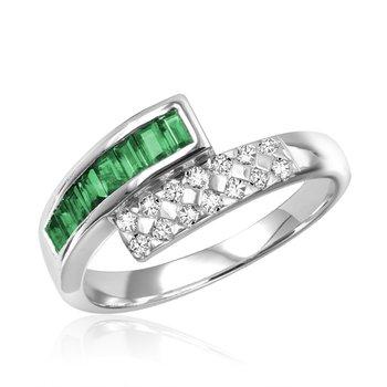 10K Emerald & Diamond Bypass Ring