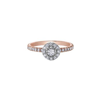 10K Halo Engagement Ring, 0.56 TDW