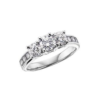 14K Three Stone Engagement Ring, 0.50 TDW