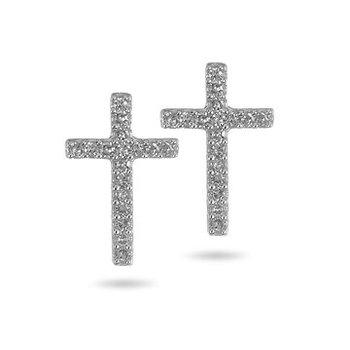 10K Diamond Cross Stud Earrings
