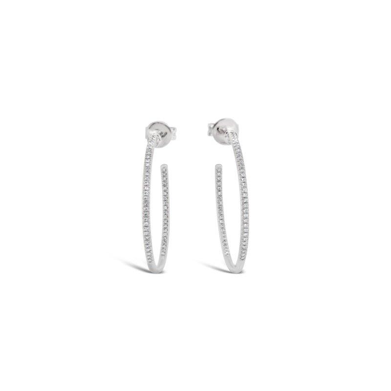 Roman & Jules 14k Inside Out Diamond Hoop Earrings