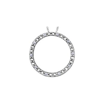 10K Diamond Circle Pendant, 0.05 TDW