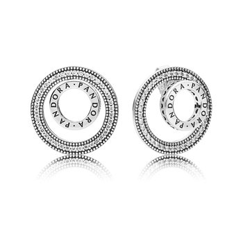 Pandora Logo Circle Stud Earrings