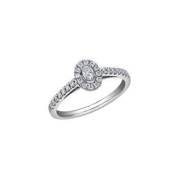 10K Oval Halo Engagement Ring, 0.33 TDW