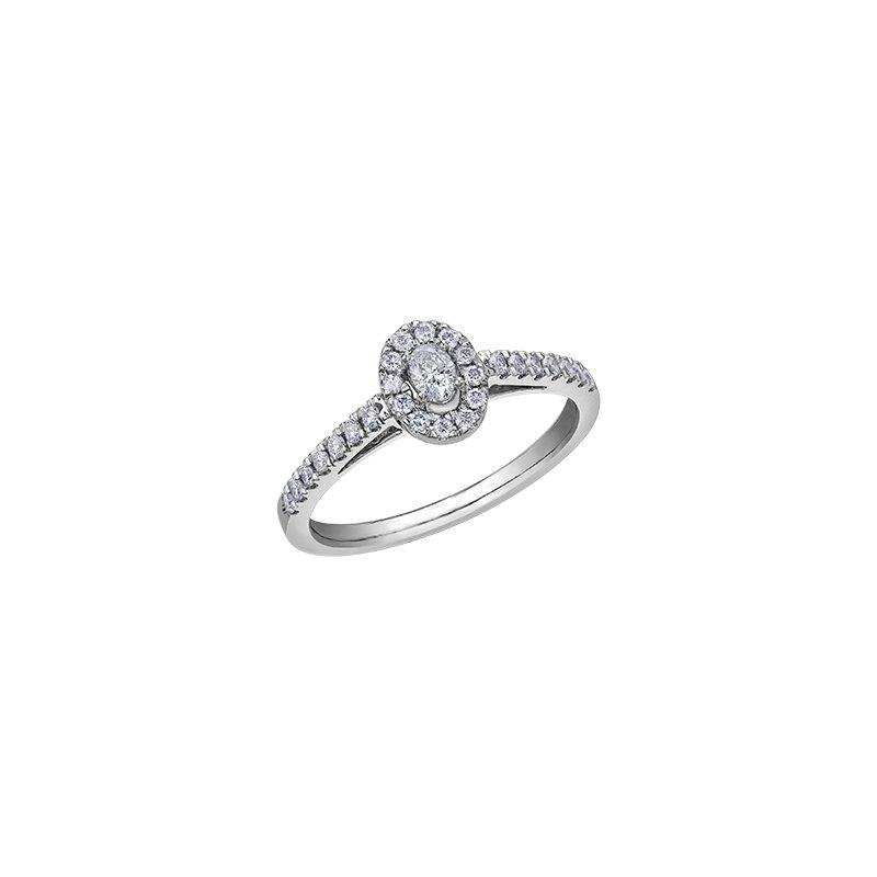 Diamond Days 10K Oval Halo Engagement Ring, 0.33 TDW