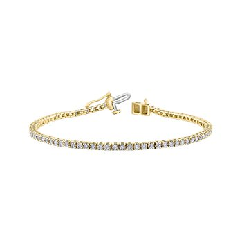 "10 karat yellow gold diamond tennis bracelet 2.00tdw 7.5"" I1 J/K"