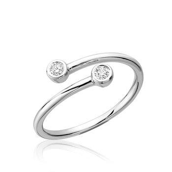 10K Bypass Diamond Ring, 0.09 TDW
