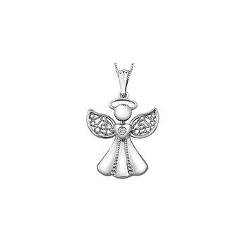 10K Diamond Angel Pendant
