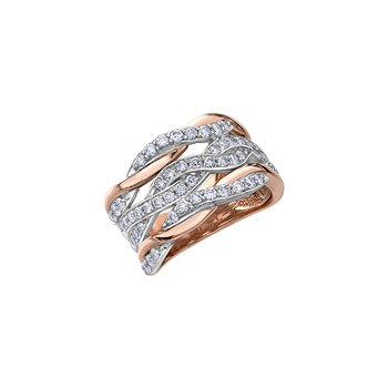 10K 2-Tone Twisted Diamond Ring 1.00TDW