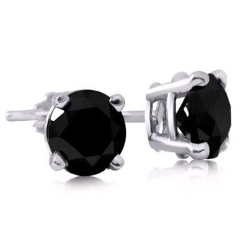 14K Black Diamond Studs, 0.44 TDW
