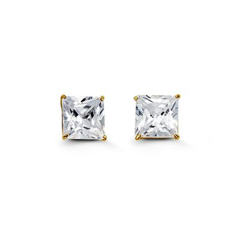14k Yellow Gold 7mm Square CZ Stud Earrings