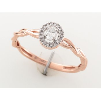 14K Halo Engagement Ring, 0.13 TDW