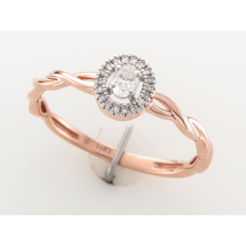 Paragems 14K Halo Engagement Ring, 0.13 TDW