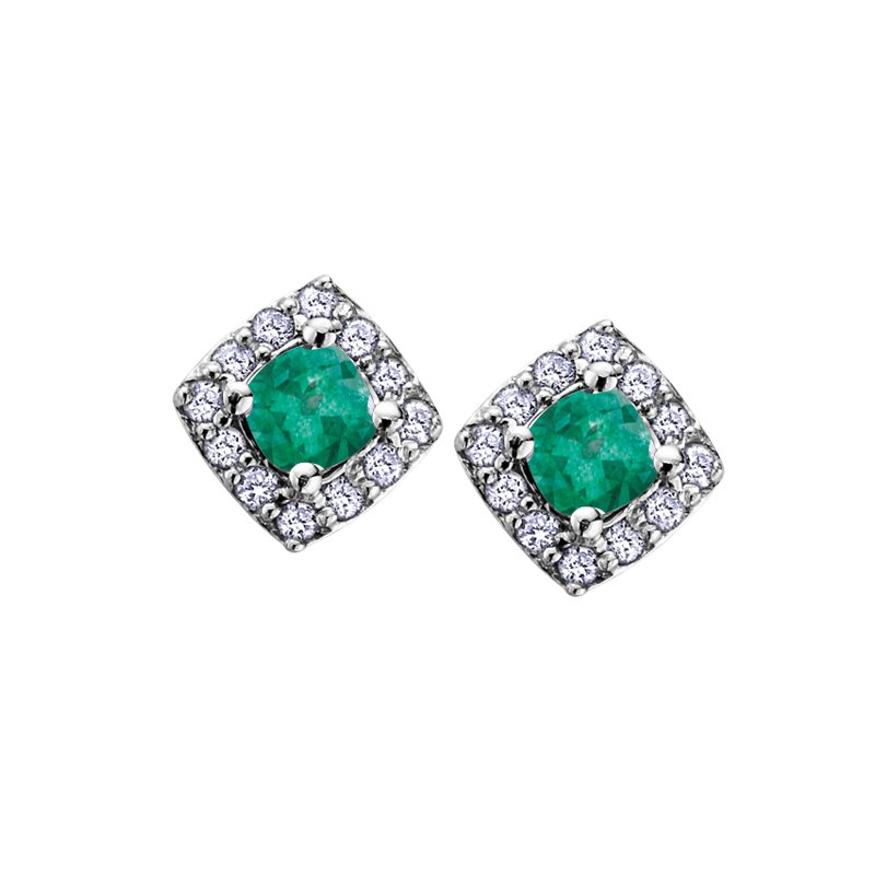 Diamond Days 10K May Birthstone Halo Stud Earring