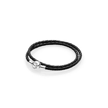 """Black Braided Double Leather Moments Bracelet, Small Double Wrap (13.8"""")"""