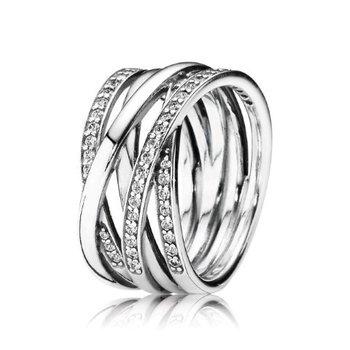 Sparkling & Polished Lines Ring, size 4.5