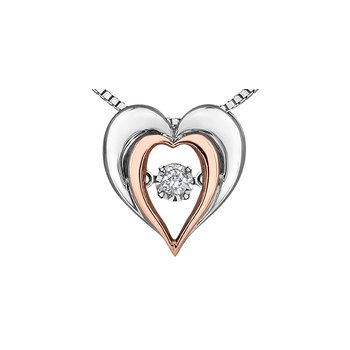 Sterling Silver and 10k gold Diamond Pulse Pendant