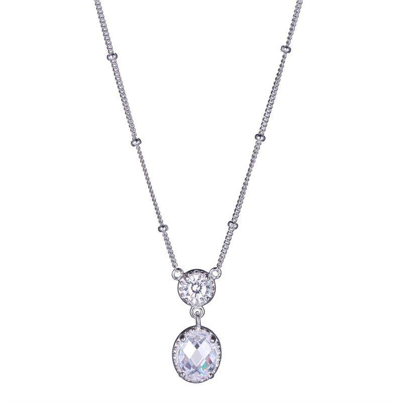 Reign Sterling Silver CZ Drop Necklace