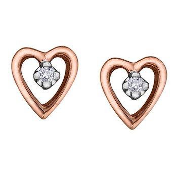 10K Rose Gold Diamond Heart Studs