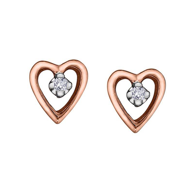 Forever Jewellery 10K Rose Gold Diamond Heart Studs