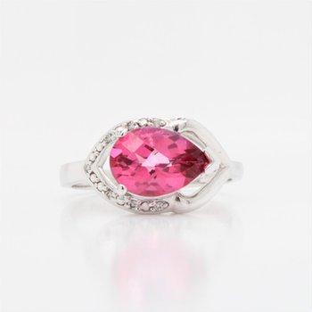 10K Pink Topaz & Diamond Ring