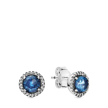 Blue Round Sparkle Earrings