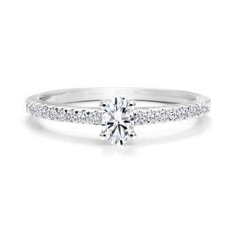 14K Oval Cut Diamond Engagement Ring, 0.51 TDW