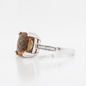 10K Cushion Cut Cognac Quartz Ring