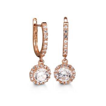 10k Bella Halo Drop with Hinge CZ Earrings