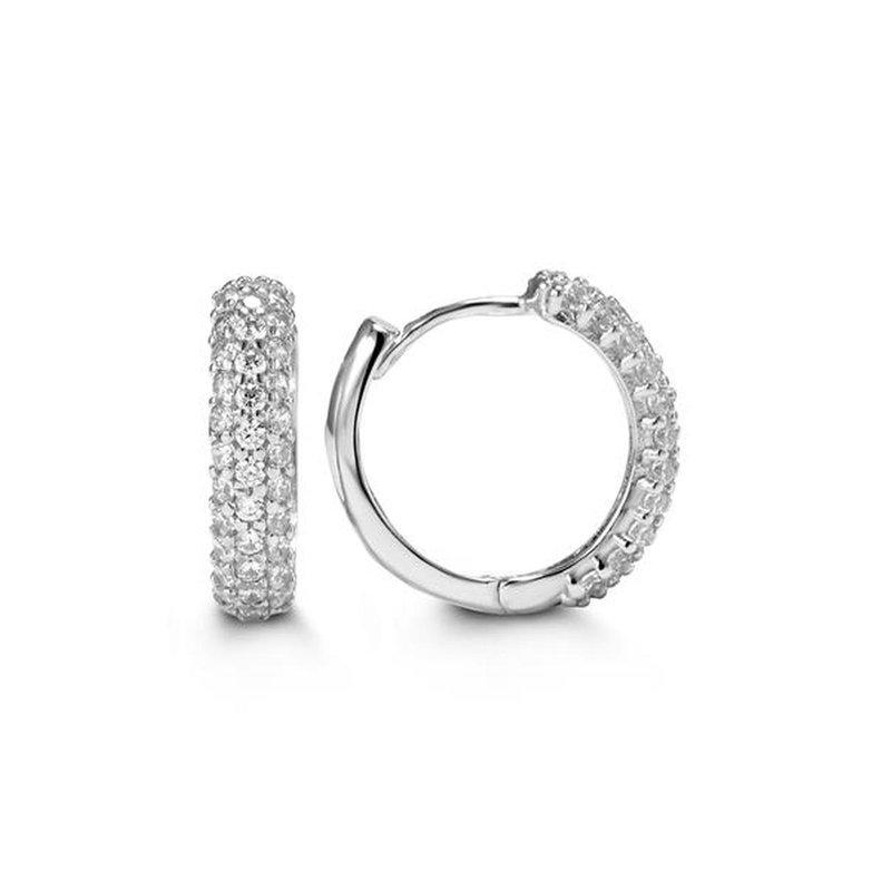 Bella 10k White Gold CZ Huggie Earrings