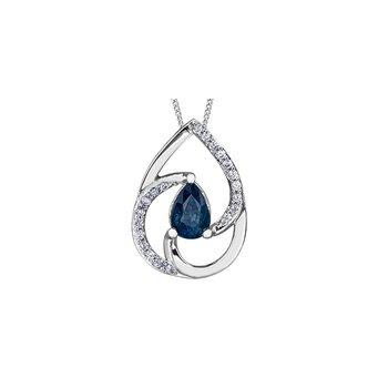 10K Teardrop Sapphire Pendant