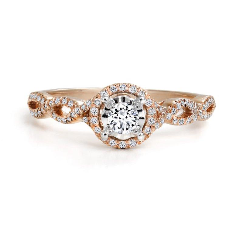 Canadian Rocks 10K Halo Engagement Ring, 0.25 TDW