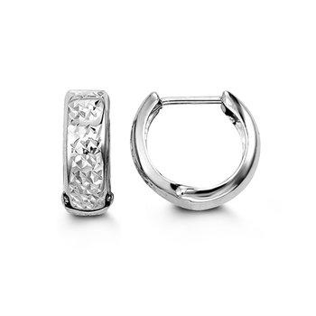 10K Diamond Cut Huggie Hoops